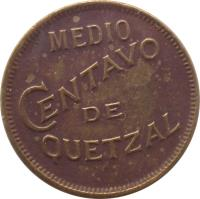 reverse of 1/2 Centavo - Without dot (1932) coin with KM# 248.1 from Guatemala. Inscription: MEDIO CENTAVO DE QUETZAL