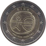 obverse of 2 Euro - 10 Years of EMU (2009) coin with KM# 62 from Ireland. Inscription: éIRe AEA 1999-2009 EMU