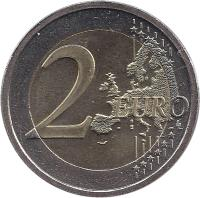 reverse of 2 Euro - 10 Years of EMU (2009) coin with KM# 62 from Ireland. Inscription: 2 EURO LL