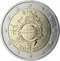 obverse of 2 Euro - 10 Years of Euro Cash (2012) coin with KM# 71 from Ireland. Inscription: éIRe A.H. € 2002 2012