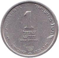 reverse of 1 New Sheqel - Hanukkah (1986 - 2009) coin with KM# 163 from Israel.