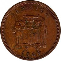 obverse of 1 Cent - Elizabeth II - Wide legend letters (1969 - 1971) coin with KM# 45 from Jamaica. Inscription: JAMAICA OUT OF MANY, ONE PEOPLE 1969