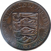reverse of 1/12 Shilling - Elizabeth II - 1'st Portrait (1957 - 1964) coin with KM# 21 from Jersey. Inscription: · BAILIWICK · OF · JERSEY · 19 64 ONE · TWELFTH · OF · A · SHILLING