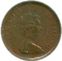 obverse of 1/2 New Penny - Elizabeth II - 2'nd Portrait (1971 - 1980) coin with KM# 29 from Jersey. Inscription: QUEEN ELIZABETH THE SECOND