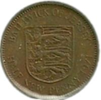 reverse of 1/2 New Penny - Elizabeth II - 2'nd Portrait (1971 - 1980) coin with KM# 29 from Jersey. Inscription: BAILIWICK OF JERSEY HALF NEW PENNY 1971