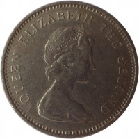 obverse of 5 New Pence - Elizabeth II - 2'nd Portrait (1968 - 1980) coin with KM# 32 from Jersey. Inscription: QUEEN ELIZABETH THE SECOND