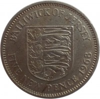 reverse of 5 New Pence - Elizabeth II - 2'nd Portrait (1968 - 1980) coin with KM# 32 from Jersey. Inscription: BAILIWICK OF JERSEY FIVE NEW PENCE 1968