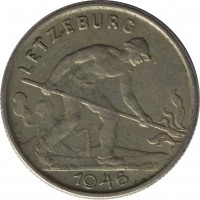 obverse of 1 Franc - Charlotte - Larger (1946 - 1947) coin with KM# 46.1 from Luxembourg. Inscription: LETZEBURG A.B. 1946