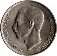 obverse of 5 Francs - Jean I (1971 - 1981) coin with KM# 56 from Luxembourg. Inscription: JEAN GRAND-DUC DE LUXEMBOURG J.N.LEVEVRE