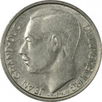 obverse of 1 Franc - Jean I (1965 - 1984) coin with KM# 55 from Luxembourg. Inscription: JEAN GRAND-DUC DE LUXEMBOURG J.N.LEVEVRE