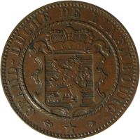 obverse of 10 Centimes - Wilhelm III (1854 - 1870) coin with KM# 23 from Luxembourg. Inscription: GRAND DUCHE DE LUXEMBOURG