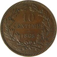 reverse of 10 Centimes - Wilhelm III (1854 - 1870) coin with KM# 23 from Luxembourg. Inscription: 10 CENTIMES 1865 A BARTH