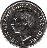 obverse of 50 Francs - Jean I (1987 - 1989) coin with KM# 62 from Luxembourg. Inscription: JEAN GRAND-DUC DE LUXEMBOURG J.N.L.