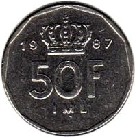 reverse of 50 Francs - Jean I (1987 - 1989) coin with KM# 62 from Luxembourg. Inscription: 19 87 50F IML