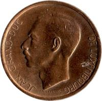 obverse of 20 Francs - Jean I (1980 - 1983) coin with KM# 58 from Luxembourg. Inscription: JEAN GRAND-DUC DE LUXEMBOURG J.N. LEFEVRE