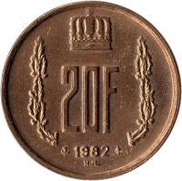 reverse of 20 Francs - Jean I (1980 - 1983) coin with KM# 58 from Luxembourg. Inscription: 20F 1980 NJL