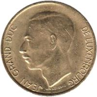 obverse of 5 Francs - Jean I (1986 - 1988) coin with KM# 60 from Luxembourg. Inscription: JEAN GRAND-DUC DE LUXEMBOURG J.N.LEFEVRE