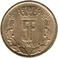 reverse of 5 Francs - Jean I (1986 - 1988) coin with KM# 60 from Luxembourg. Inscription: 19 86 5F IML