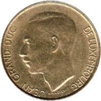 obverse of 5 Francs - Jean I (1989 - 1995) coin with KM# 65 from Luxembourg. Inscription: JEAN GRAND-DUC DE LUXEMBOURG J.N. LEFEVRE