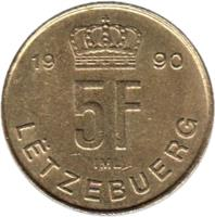 reverse of 5 Francs - Jean I (1989 - 1995) coin with KM# 65 from Luxembourg. Inscription: 19 89 5F IML LËTZEBUERG