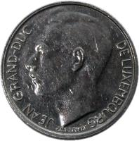 obverse of 1 Franc - Jean I (1986 - 1987) coin with KM# 59 from Luxembourg. Inscription: JEAN GRAND-DUC DE LUXEMBOURG J.N. LEFEVRE
