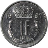 reverse of 1 Franc - Jean I (1986 - 1987) coin with KM# 59 from Luxembourg. Inscription: 1987 1F IML