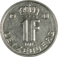 reverse of 1 Franc - Jean I (1988 - 1995) coin with KM# 63 from Luxembourg. Inscription: 19 88 1F IML LËTZEBUERG