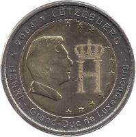 obverse of 2 Euro - Henri I - Monogramme (2004) coin with KM# 85 from Luxembourg. Inscription: 2004 LËTZEBUERG HENRI - Grand-Duc de Luxembourg CG