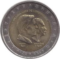 obverse of 2 Euro - Henri I - Henri and Adolphe (2005) coin with KM# 87 from Luxembourg. Inscription: LËTZEBUERG - GRANDS-DUCS DE LUXEMBOURG - HENRI 1955 ADOLPHE †1905 S 20 05
