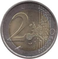 reverse of 2 Euro - Henri I - Henri and Adolphe (2005) coin with KM# 87 from Luxembourg. Inscription: 2 EURO LL
