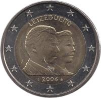 obverse of 2 Euro - Henri I - Guillaume (2006) coin with KM# 88 from Luxembourg. Inscription: LËTZEBUERG S 2006