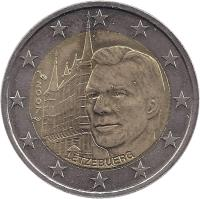 obverse of 2 Euro - Henri I - Palais Grand-Ducal (2007) coin with KM# 95 from Luxembourg. Inscription: LËTZEBUERG 2007 F