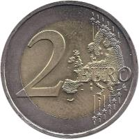 reverse of 2 Euro - Henri I - Palais Grand-Ducal (2007) coin with KM# 95 from Luxembourg. Inscription: 2 EURO LL