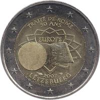 obverse of 2 Euro - Henri I - Treaty of Rome (2007) coin with KM# 94 from Luxembourg. Inscription: TRAITÉ DE ROME 50 ANS EUROPE 2007 LËTZEBUERG