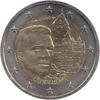 obverse of 2 Euro - Henri I - Chateau de Berg (2008) coin with KM# 96 from Luxembourg. Inscription: LËTZEBUERG 2008