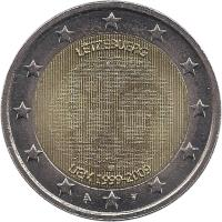 obverse of 2 Euro - Henri I - 10 Years of EMU (2009) coin with KM# 107 from Luxembourg. Inscription: LËTZEBUERG UEM 1999-2009