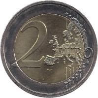 reverse of 2 Euro - Henri I - 10 Years of EMU (2009) coin with KM# 107 from Luxembourg. Inscription: 2 EURO LL
