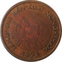 obverse of 10 Đồng - FAO (1974) coin with KM# 13 from Vietnam. Inscription: TĂNG-GIA SẢN-XUẤT NÔNG-PHẨM 1974