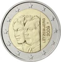 obverse of 2 Euro - Henri I - Accession of Charlotte (2009) coin with KM# 106 from Luxembourg. Inscription: LETZEBURG 2009