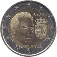 obverse of 2 Euro - Henri I - Duke Henri (2010) coin with KM# 115 from Luxembourg. Inscription: 2010 LËTZEBUERG