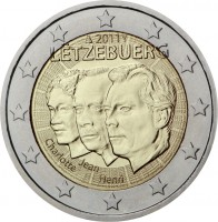 obverse of 2 Euro - Henri I - Jean de Luxemburg (2011) coin with KM# 116 from Luxembourg. Inscription: 2011 LËTZEBUERG Jean Charlotte Henri Grand-Duché de Luxembourg Großherzogtum Luxemburg Groussherzogtum LËTZEBUERG