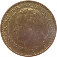 obverse of 20 Francs - Rainier III (1950 - 1951) coin with KM# 131 from Monaco. Inscription: RAINIER III PRINCE DE MONACO 1951