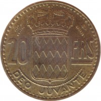 reverse of 20 Francs - Rainier III (1950 - 1951) coin with KM# 131 from Monaco. Inscription: 20 FRS DEO JUVANTE