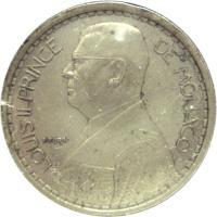obverse of 20 Francs - Louis II (1947) coin with KM# 124 from Monaco. Inscription: LOUIS II PRINCE DE MONACO P. TURIN
