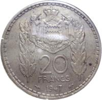 reverse of 20 Francs - Louis II (1947) coin with KM# 124 from Monaco. Inscription: 20 FRANCS 1947 DEO JUVANTE
