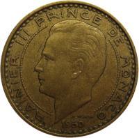 obverse of 10 Francs - Rainier III (1950 - 1951) coin with KM# 130 from Monaco. Inscription: RAINIER III PRINCE DE MONACO 1951 P. TURIN