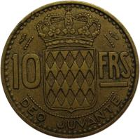 reverse of 10 Francs - Rainier III (1950 - 1951) coin with KM# 130 from Monaco. Inscription: 10 FRS DEO JUVANTE