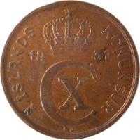 obverse of 5 Aurar - Christian X (1926 - 1942) coin with KM# 7 from Iceland. Inscription: ÍSLANDS KONUNGUR 1942 CX