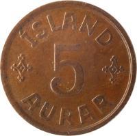 reverse of 5 Aurar - Christian X (1926 - 1942) coin with KM# 7 from Iceland. Inscription: ÍSLAND 5 AURAR