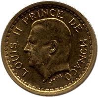 obverse of 1 Franc - Louis II (1945) coin with KM# 120a from Monaco. Inscription: LOUIS II PRINCE DE MONACO L. MAUBERT